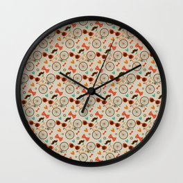 Colorful Hipster Elements Pattern on beige Wall Clock