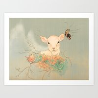 lamb Art Prints featuring Lamb by Maribellum