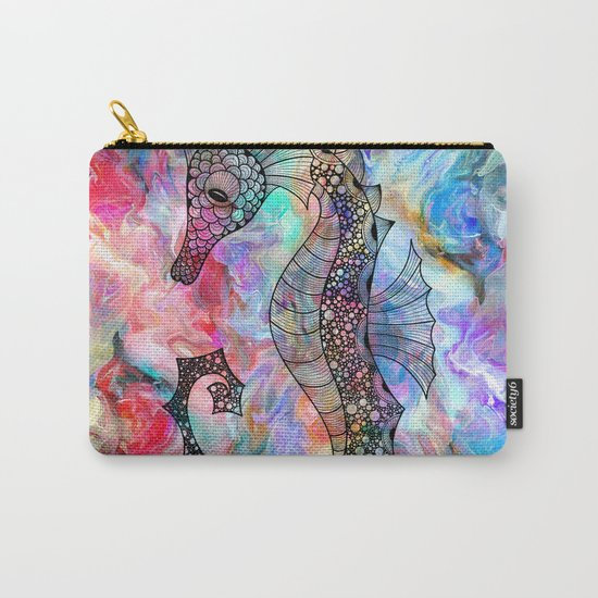 Drawn Seahorse on Colors Carry-All Pouch