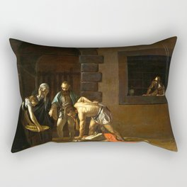 The Beheading of St John the Baptist by Caravaggio (1608) Rectangular Pillow