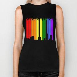 Cedar Rapids Iowa Gay Pride Rainbow Skyline Biker Tank