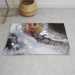 Metallic Haze - Mixed Media Acrylic Abstract Modern Fine Art, 2009 Rug