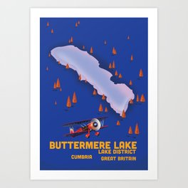 Buttermere Lake Cumbria travel map Art Print