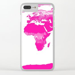 World Map Hot Pink Clear iPhone Case