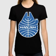 Han-Am MEDIUM Black Womens Fitted Tee