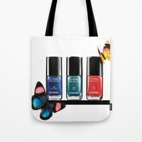 nail polish Tote Bags featuring Butterflies & Nail Polish  by Luxe Glam Decor