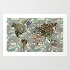 CAMO WORLD ATLAS MAP (CAMO) Art Print