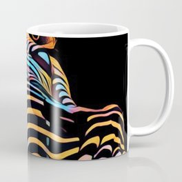 1731s-AK Striped Vulval Portrait Zebra Woman Power Pose by Chris Maher Coffee Mug