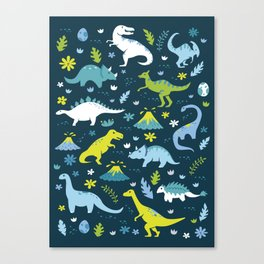 Kawaii Dinosaurs in Blue + Green Canvas Print