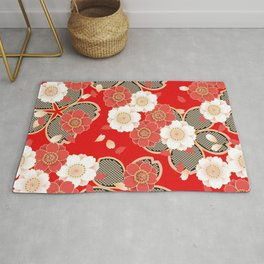 Japanese Vintage Red Black White Floral Kimono Pattern Rug