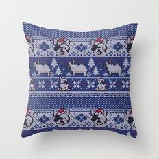 Christmas Frenchie Throw Pillow