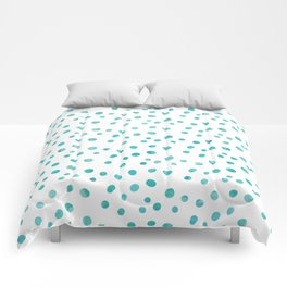 Small Blue Watercolor Abstract Polka Dots Comforters