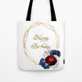 Happy Birthday Red White and Blue Wreath Tote Bag