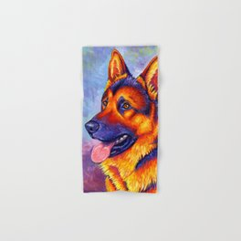 Colorful German Shepherd Dog Hand & Bath Towel