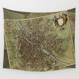 Old Paris Map and other manuscripts Wall Tapestry