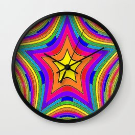Colorful Rainbow Star w/gold Wall Clock