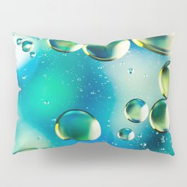 Macro Water Droplets  Aquamarine Soft Green Citron Lemon Yellow and Blue jewel tones Pillow Sham