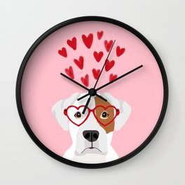 Boxer heart glasses hearts valentines day cute dog gifts rescue dog pure breed boxers Wall Clock