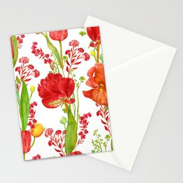 Red Tulips and Iris Vibrant Floral Pattern Stationery Cards