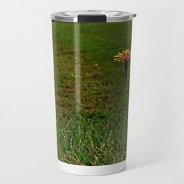 Dandelion with some scenery behind | landscape photography Travel Mug