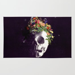 Skull with flowers no1 Rug