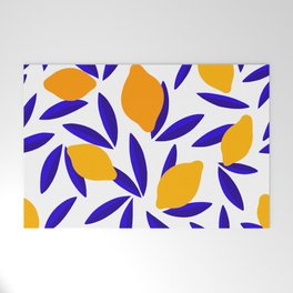 Blue and yellow Lemon Summery Pattern Welcome Mat