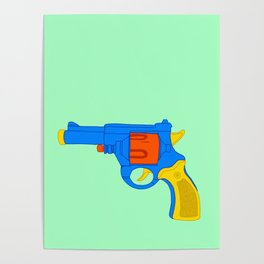 Colorful Toy Revolver Poster