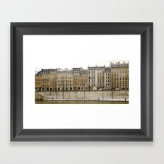 Snowy Apartments Paris Framed Art Print