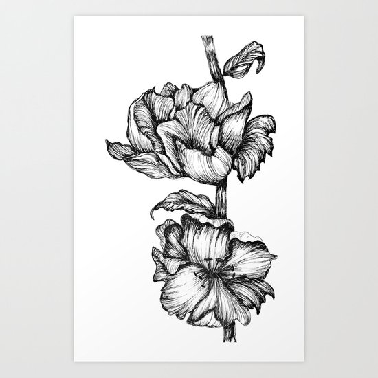 Floral Ink II Art Print