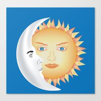 sun and moon Canvas Prints featuring Moon & Sun by Ali Drenner
