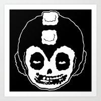 mega man Art Prints featuring MISFITS MEGA MAN SKULL by UNDEAD MISTER / MRCLV