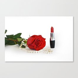 Rose, lipstick and pearls Canvas Print