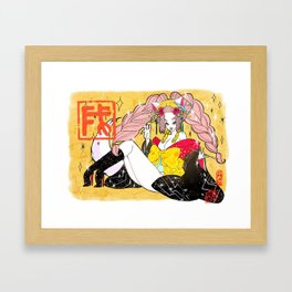 Happy new year girl Framed Art Print