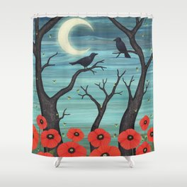 crows, fireflies, and poppies in the moonlight Shower Curtain