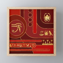Egyptian Geometric Art Deco Red and Gold Framed Mini Art Print