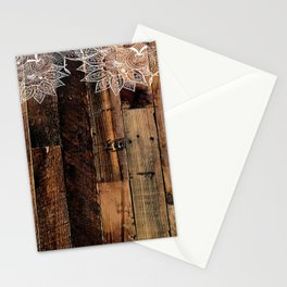 rustic country farmhouse chic vintage lace barnwood Stationery Cards