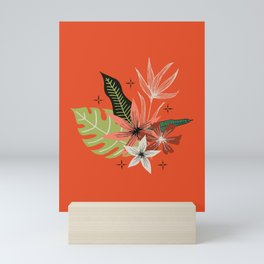 tropical bouquet on orange Mini Art Print