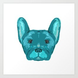 Teal Frenchie Top. Art Print