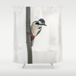 Knock, knock. Who's There? Woodpecker! Shower Curtain