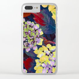 Hydrangea Yellow Clear iPhone Case