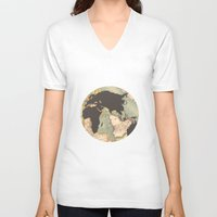 earth V-neck T-shirts featuring earth by Sébastien BOUVIER