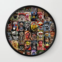 Papua New Guinea Faces Montage Wall Clock