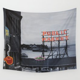Pike Place Market - Black & White & Neon -Seattle Washginton Wall Tapestry