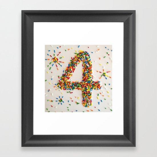 Sprinkles, Fireworks and the Number 4 Framed Art Print
