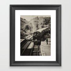 Sepia steam train  Framed Art Print