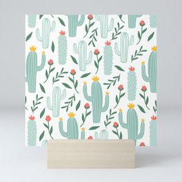 Mint Cactus Garden Mini Art Print