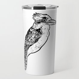 Black and White Kookaburra Illustration Travel Mug