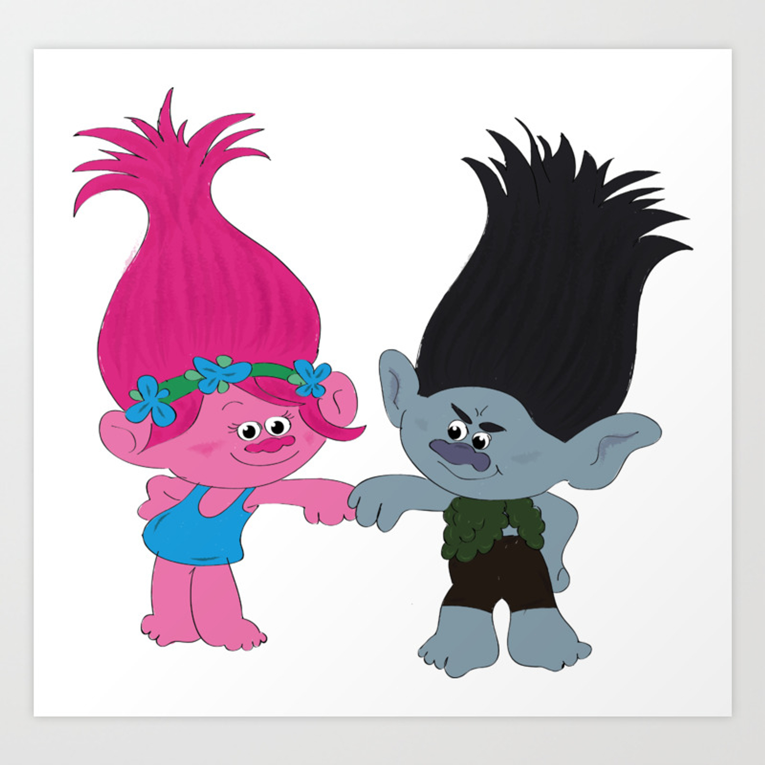Poppy And Branch From Trolls And Dreamworks Art Print By Gerganar