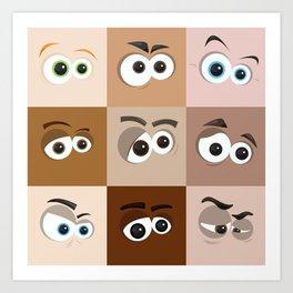 Cartoon Eyes Art Print