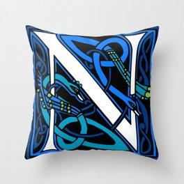 Celtic Peacocks Letter N Throw Pillow